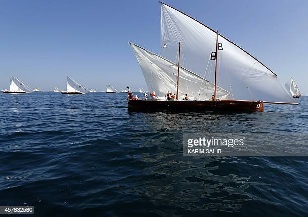 Emiratis sail traditional 60ft dhows during a race under the slogan Al Yamamah strating at the island of alKamar finishing at the coast of Dubai on...