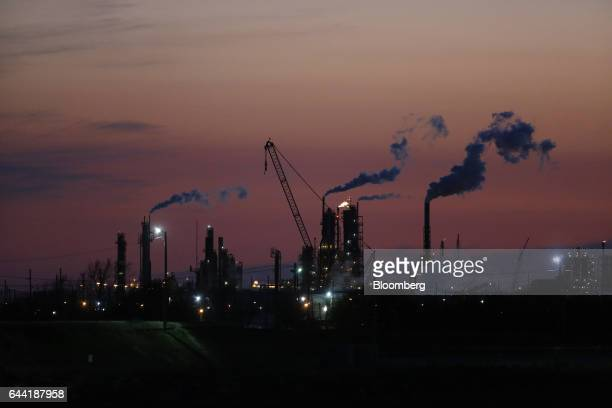 Emissions rise from an oil refinery at sunset in Texas City Texas US on Thursday Feb 16 2017 Asia's energy importers will benefit from more...