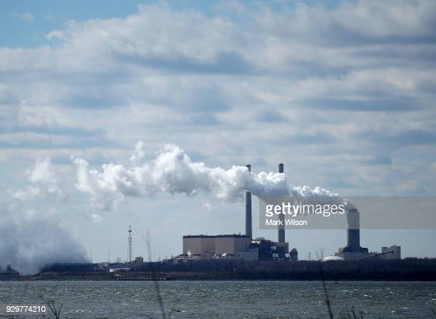 Emissions spew from a large stack at the coal fired Brandon Shores Power Plant on March 9 2018 in Baltimore Maryland Last year the Environmental...