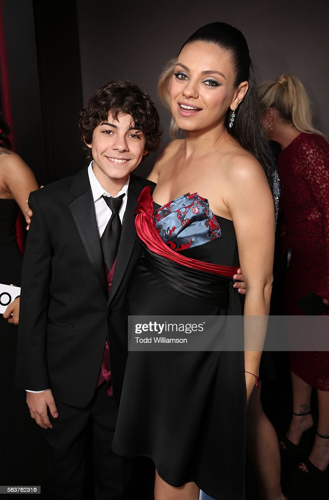 Emjay Anthony and Mila Kunis attend the premiere Of STX Entertainment's 'Bad Moms' at Mann Village Theatre on July 26, 2016 in Westwood, California.