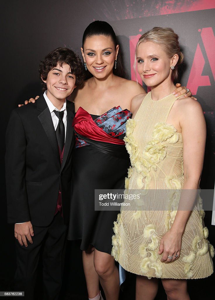 Emjay Anthony, Mila Kunis and Kristen Bell attend the premiere Of STX Entertainment's 'Bad Moms' at Mann Village Theatre on July 26, 2016 in Westwood, California.
