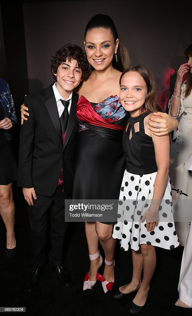 Emjay Anthony, Mila Kunis and Oona Laurence attend the premiere Of STX Entertainment's 'Bad Moms' at Mann Village Theatre on July 26, 2016 in Westwood, California.