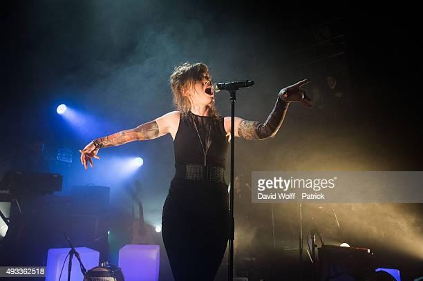 Emji performs at Cafe de la Danse on October 19, 2015 in Paris, France.
