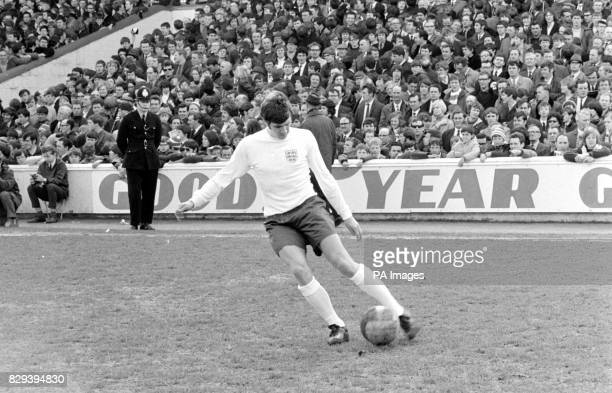 Emlyn Hughes the Liverpool half back who is in the squad of 22 players from whom Sir Alf Ramsey will choose the side to play East Germany at Wembley