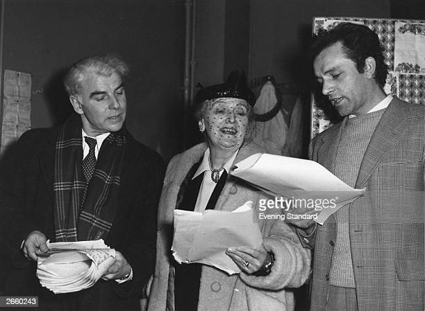 Emlyn Williams Sybil Thorndike and Richard Burton reading 'Under Milk Wood' by Dylan Thomas in rehearsal at the Old Vic