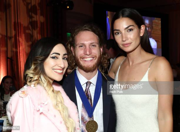 Emma Altman Max Frieder and Lily Aldridge Followill attend the 2018 World of Children Hero Awards Benefit at Montage Beverly Hills on April 19 2018...