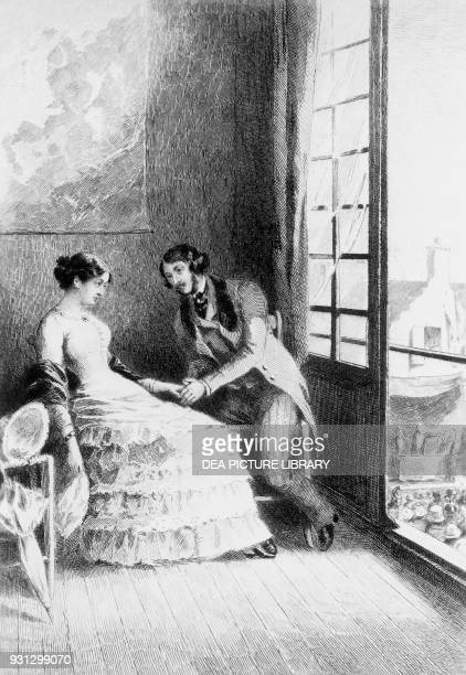 Emma and Rodolphe illustration for Madame Bovary novel by Gustave Flaubert etching by EugeneMichelJoseph Abot and Daniel Mordant after a drawing by...