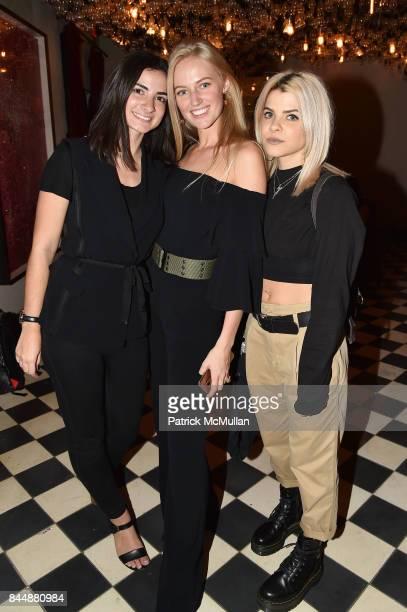 Emma Atterholm Alexa Arcaini and Kelsey Kizolek attend the Nicole Miller Spring 2018 Presentation at Gramercy Terrace at The Gramercy Park Hotel on...
