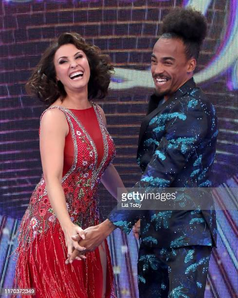 Emma Barton and Dev Griffin attend the Strictly Come Dancing launch show red carpet at Television Centre on August 26 2019 in London England