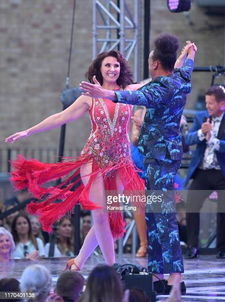 Emma Barton and Dev Griffin attend the Strictly Come Dancing launch show red carpet arrivals at Television Centre on August 26 2019 in London England