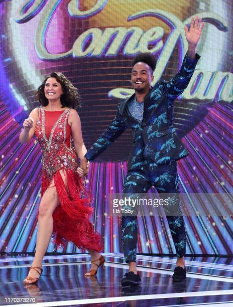Emma Barton and Dev Griffin on stage at the Strictly Come Dancing launch show at Television Centre on August 26 2019 in London England