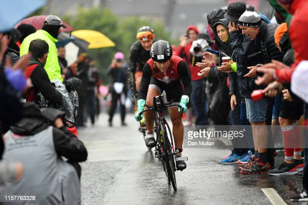 Emma Bilham of Switzerland competes in the bike section during the IRONMAN Ireland on June 23 2019 in Cork Ireland