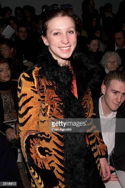 Emma Bloomberg at the Vivienne Tam Fall 2002 fashion show at Bryant Park during the MercedesBenz Fashion Week Feb 15 2002 Photo Evan...