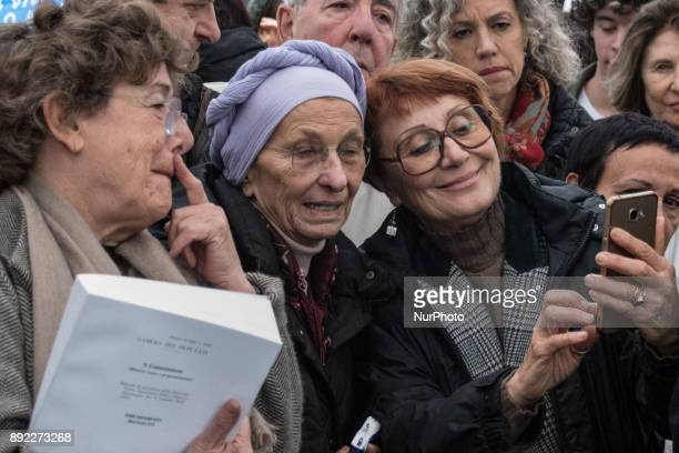 Emma Bonino during celebrate after the Senate on Thursday gave final approval to a bill for living wills with 180 votes in favour 71 against and six...