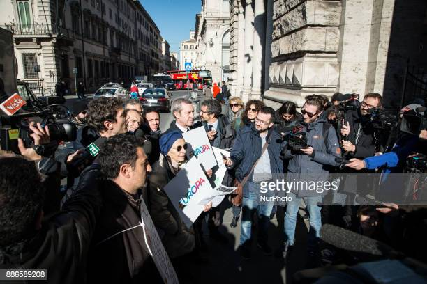 Emma Bonino during Sitin list Europe in front of Palazzo Chigi on the obstacles to the collection of signatures for the presentation of applicationsi...