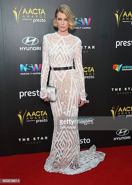 Emma Booth poses on the red carpet for the 5th AACTA Awards at The Star on December 9, 2015 in Sydney, Australia.