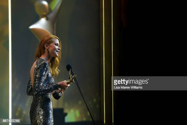 Emma Booth wins an AACTA Award for Best Lead Actress during 7th AACTA Awards Presented by Foxtel at The Star on December 6 2017 in Sydney Australia