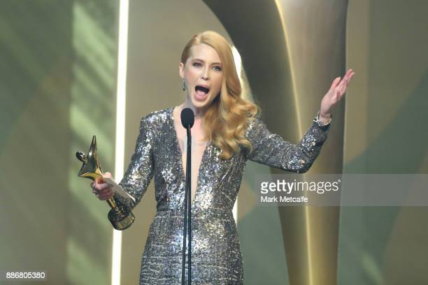 Emma Booth wins an AACTA Awards for Best Lead Actress during the 7th AACTA Awards Presented by Foxtel | Ceremony at The Star on December 6 2017 in...