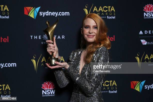Emma Both poses with an AACTA Award for Best Lead Actress during the 7th AACTA Awards Presented by Foxtel | Ceremony at The Star on December 6 2017...