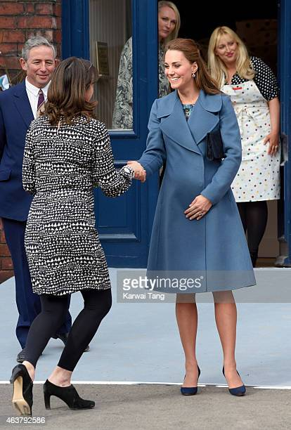 Emma Bridgewater greets Catherine, Duchess of Cambridge ahead of her visit of the Emma Bridgewater factory to see production of a mug the company has...