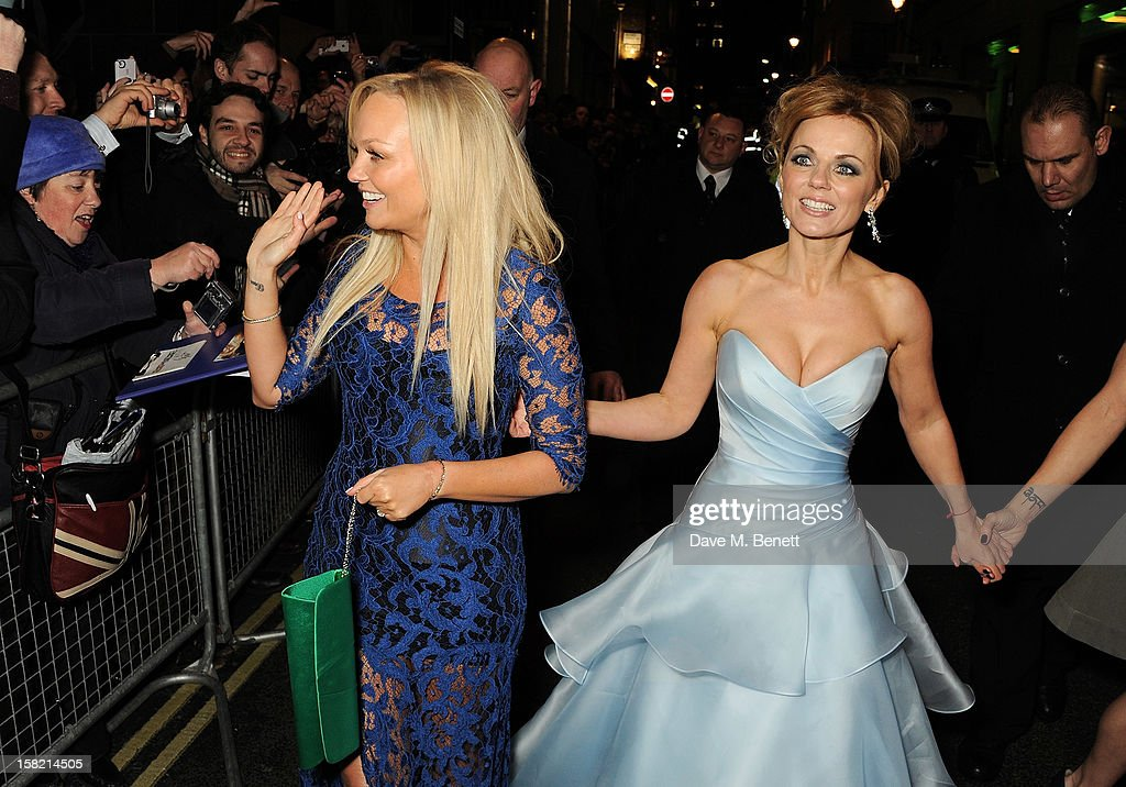 Emma Bunton (L) and Geri Halliwell arrive at the Gala Press Night performance of 'Viva Forever' at the Piccadilly Theatre on December 11, 2012 in London, England.
