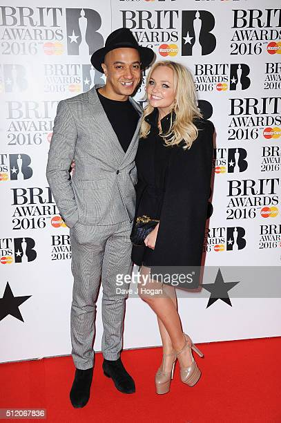 Emma Bunton and Jade Jones attend the BRIT Awards 2016 at The O2 Arena on February 24 2016 in London England