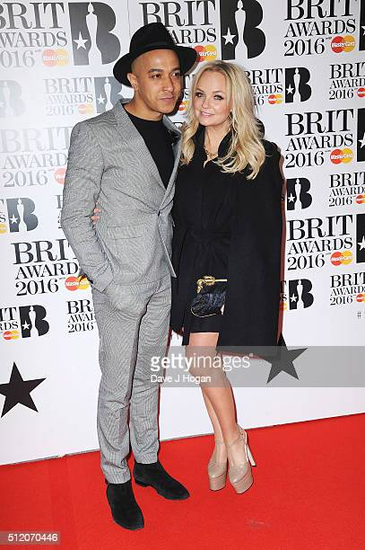 Emma Bunton and Jade Jones attend the BRIT Awards 2016 at The O2 Arena on February 24, 2016 in London, England.