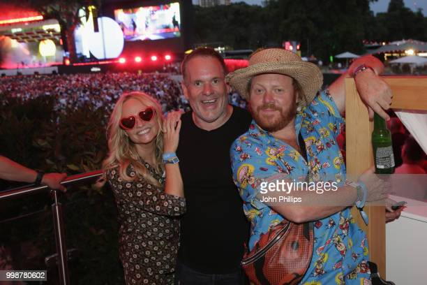 Emma Bunton Chris Moyles and Leigh Francis attends as Barclaycard present British Summer Time Hyde Park at Hyde Park on July 14 2018 in London England