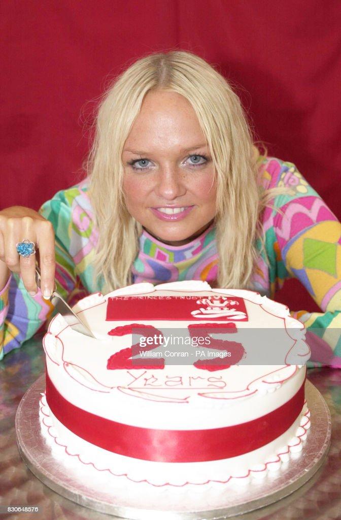 Emma Bunton Cuts Into A Cake Celebrating The 25th Birthday Of The