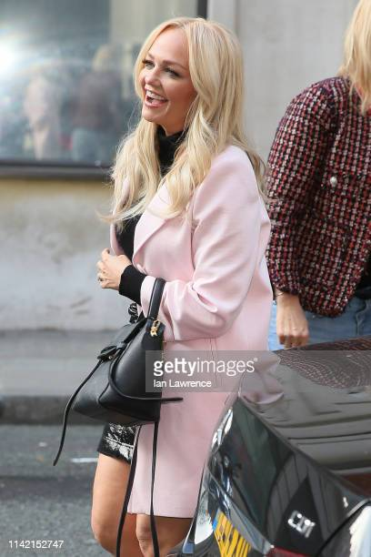 Emma Bunton is seen arriving at BBC Radio Two Studios to promote her new album 'My Happy Place' on April 12, 2019 in London, England.
