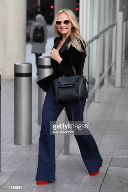 Emma Bunton leaving the Chris Evans Breakfast Show at Virgin Radio on April 05, 2019 in London, England.