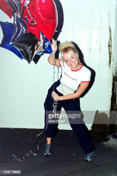 Emma Bunton of The Spice Girls celebrate as their single Viva Forever goes to number one in the charts, their seventh number one record, London, July...