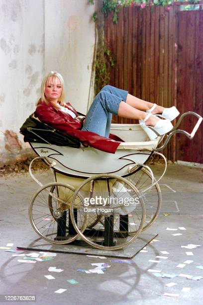 Emma Bunton of The Spice Girls records the video for the single On Top of the World England's official song for the 1998 Fifa World Cup London 1998