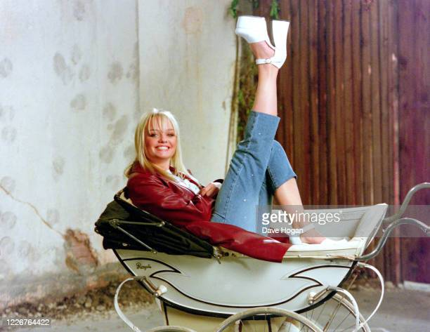 "Emma Bunton of The Spice Girls records the video for the single "" On Top of the World"", England's official song for the 1998 Fifa World Cup, London,..."