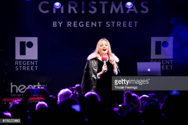 Emma Bunton on stage during the Regent Street Christmas lights switch on at Regent Street on November 16 2017 in London England
