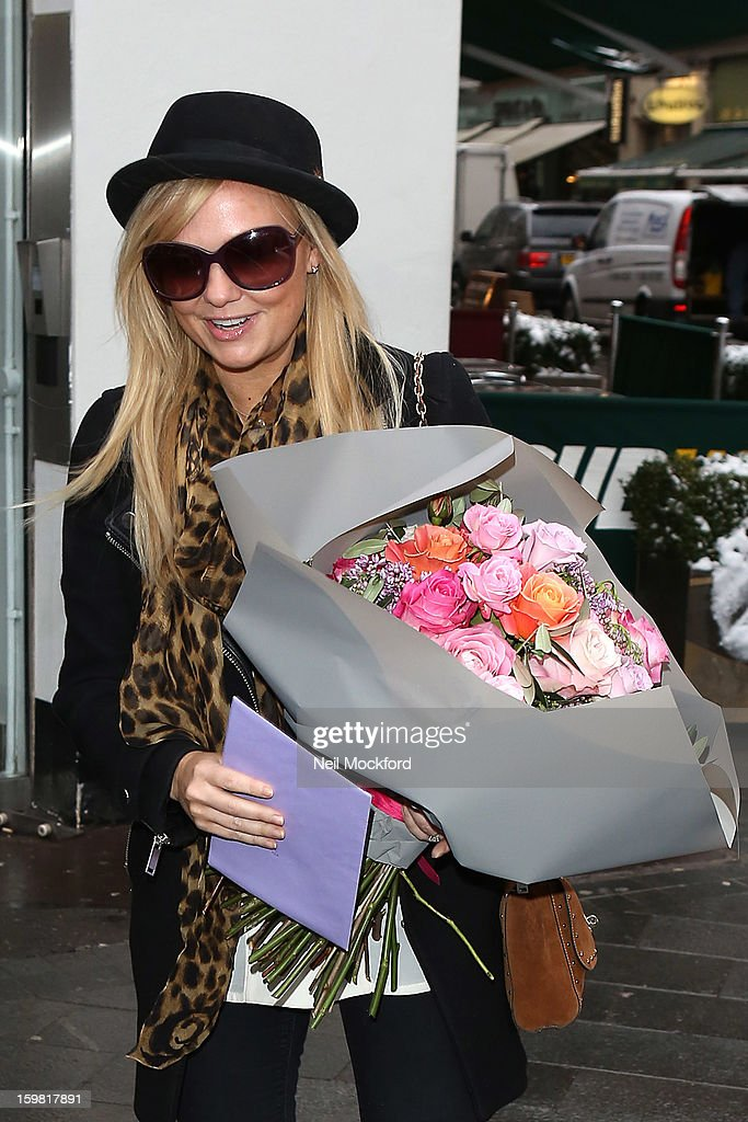 Emma Bunton seen leaving Heart FM on her 37th Birthday on January 21, 2013 in London, England.