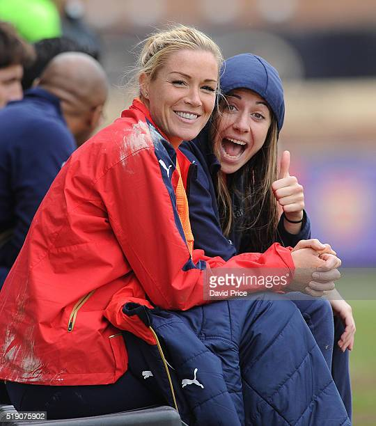 Emma Byrne and Vicky Losada of Arsenal Ladies during the match between Arsenal Ladies and Notts County Ladies at Meadow Park on April 3 2016 in...