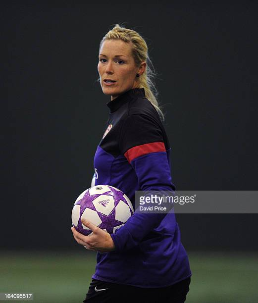 Emma Byrne of Arsenal Ladies during an Arsenal Ladies Training Session at Arsenal Training Ground on March 19 2013 in St Albans Hertfordshire England