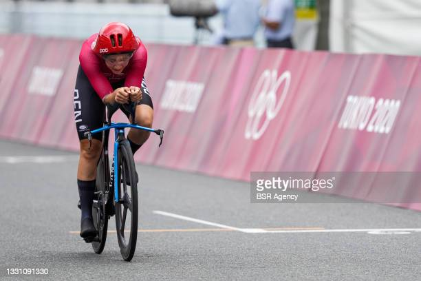 Emma Cecilie Joergensen of Team Denmark competes in the Women's Individual Time Trial during day 5 of the Tokyo 2020 Olympic Games at the Fuji...