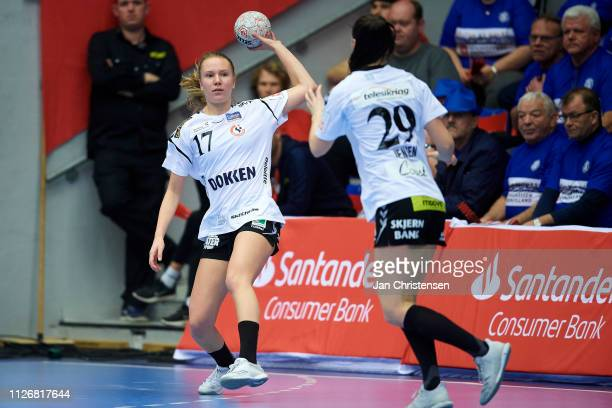 Emma Cecilie Nielsen of Team Esbjerg in action during the Santander Final4 3 4 place match between Randers HK and Team Esbjerg in Blue Water Dokken...