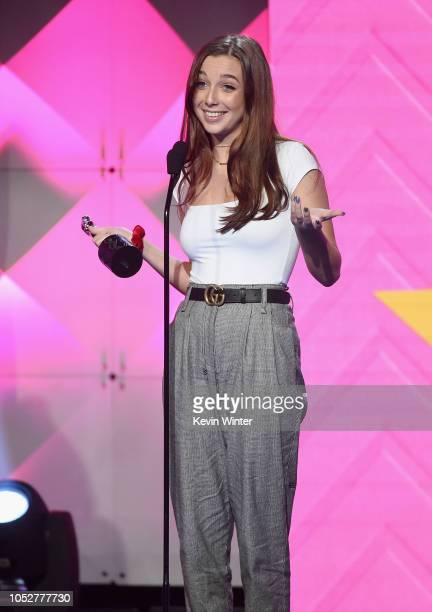 Emma Chamberlain accepts the Breakout Creator award onstage during The 8th Annual Streamy Awards at The Beverly Hilton Hotel on October 22 2018 in...