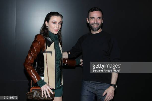 Emma Chamberlain and Designer Nicolas Ghesquière pose after the Louis Vuitton show as part of the Paris Fashion Week Womenswear Fall/Winter 2020/2021...
