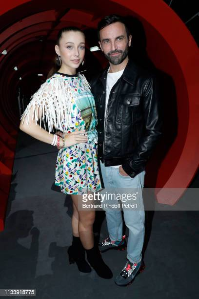 Emma Chamberlain and Stylist Nicolas Ghesquiere pose after the Louis Vuitton show as part of the Paris Fashion Week Womenswear Fall/Winter 2019/2020...