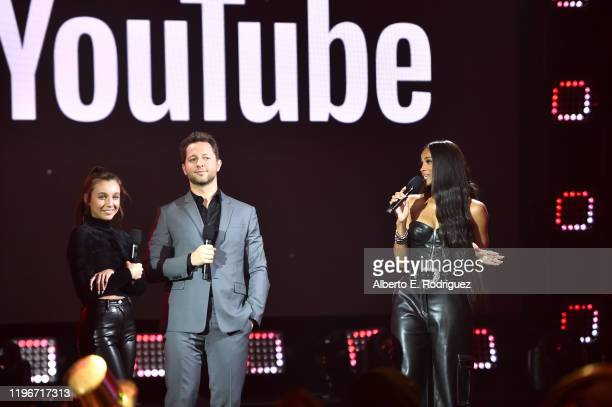 Emma Chamberlain Derek Blasberg and Ciara speak onstage during Dick Clark's New Year's Rockin' Eve with Ryan Seacrest 2020 Hollywood Party on...