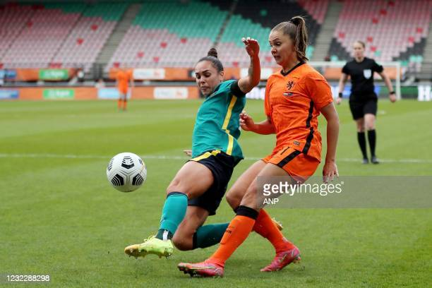 Emma Checker of Australia, Lieke Martens of Holland during the international women's friendly match between the Netherlands and Australia at the...