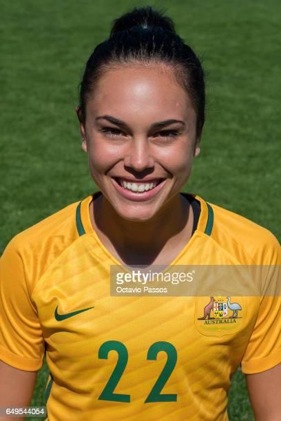 Emma Checker of Australia poses for a portrait prior the Women's Algarve Cup Tournament match between Australia and Denmark at Municipal de Albufeira...