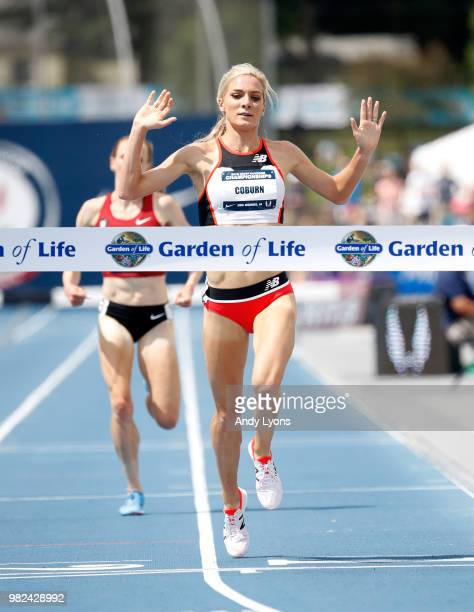 Emma Coburn celebrates as she wins the Womens 3000 Meter Steeplechase Final during day 3 of the 2018 USATF Outdoor Championships at Drake Stadium on...