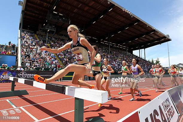 Emma Coburn clears a hurdle on her way to win the Women's 300 meter steeplechase during the 2011 USA Outdoor Track Field Championships at Hayward...