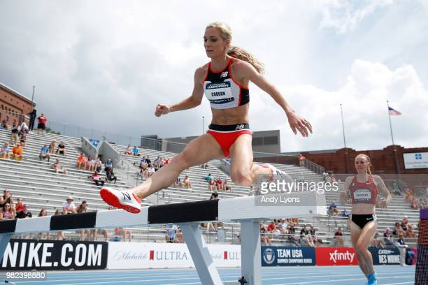 Emma Coburn clears a hurdle on the way to win the Womens 3000 Meter Steeplechase Final during day 3 of the 2018 USATF Outdoor Championships at Drake...