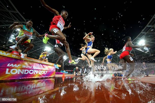 Emma Coburn of the United States and Courtney Frerichs of the United States compete in the Women's 3000 metres Steeplechase final during day eight of...
